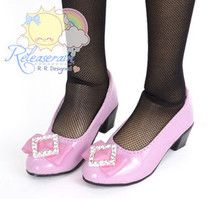 Rhombus Rhinestone Bow Low Heel Pumps Shoes Pt Pink for SD Girl Dollfie BJD doll