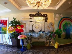 The foyer at the Four Seasons Hotels is gorgeous! Full of @Trolls rainbows and glitter! #DreamWorksTrolls #fancyshanty