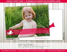 Printable Christmas Photo Card - Photo Holiday Card - Dove Holiday Card - Pink…