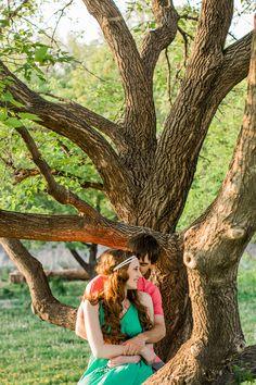 Boho Love At Rustic Oaks | Romantic Engagement Photo Ideas - Inspired Bride
