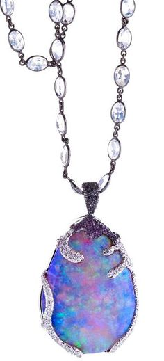 "Katherine Jetter Lady Lavender Pendant Exquisite 75ct Lavender Boulder Opal set in 18K White Gold with White and Black Diamonds and Amethyst. 34"" 18K White Gold and Moonstone chain."