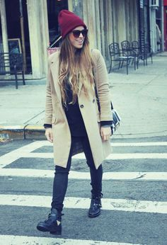@roressclothes closet ideas #women fashion outfit #clothing style apparel Maroon Hat with A Beige Trench Coat