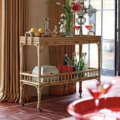 Decorating Inspiration: Bar Carts - Driven by Decor Bar Cart Styling, Bar Cart Decor, Bar Antique, Gold Bar Cart, Driven By Decor, Elegante Designs, Bar Furniture, Rattan Furniture, Coastal Furniture