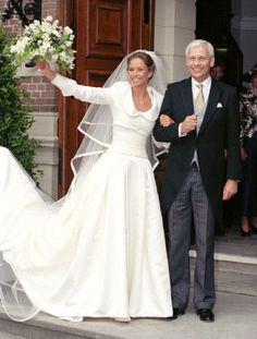 Marilène van den Broek with her father Hans Van Den Broek on her wedding day on 30 May 1998