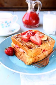 French Toast Stuffed with Strawberries and Bananas