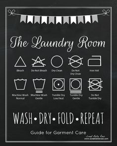 Free Laundry Room Printable - laundry room symbols #free #printable - Sweet Bella Roos This would be helpful and cute!