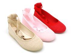 Tienda online de calzado infantil Okaaspain. Bailarina de lona con lazo. Calidad al mejor precio hecho en España. Estilo Preppy, Ballet, Shoes, Fashion, Fabric Crafts, Waterfalls, Footwear, Bias Tape, Hair Bows