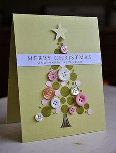 christmas tree card homemade - using buttons and cut out circle of coloured card/paper - homemade christmas card ideas craft upcycle
