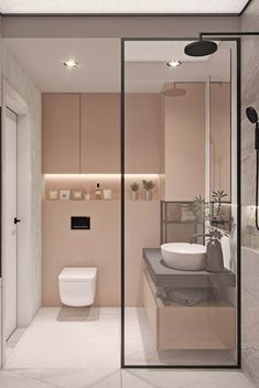 38 Modern Bathroom Decor and Design Ideas For More Attractive Home ~ Ideas for House Renovations House Bathroom, Interior, Home, House Interior, Bathroom Interior, Modern Bathroom, Bathroom Design Small, Pink Bathroom, Bathroom Decor