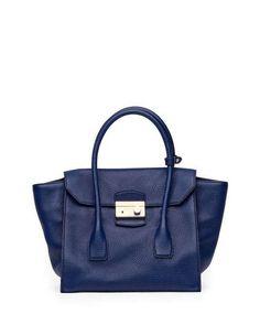 Prada   Daino Small Twin-Pocket Flap Bag, Dsrk Blue (Inchiostro) #prada #bag