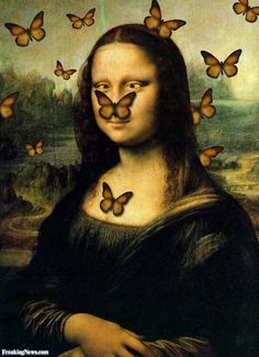 Mona Lisa Surrounded by Butterflies