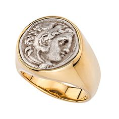 18kt high polish yellow gold ring featuring an authentic Alexander the Great coin that is bezel set. This is a Jorge Adeler original design.