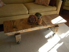Rustic coffee table/media stand on casters