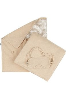 Madeleine Thompson Cathy travel set: oatmeal fine-knit cashmere, knit gauge blanket, eye mask with elasticated straps and satin lining. Comes in a toggle-fastening satin-lined pouch. Rest And Relaxation, Hand Luggage, Travel Set, Neck Pillow, Sleep Mask, Jet Set, Cashmere, Pouch, Fancy