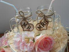 SALE Mason Jar Wedding Glasses / Mr. and Mrs. by YesMoreFunk, $20.00