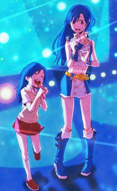 """nomarai:  blue hair boots dual persona idolmaster kisaragi chihaya kyouno microphone pigeon-toed red eyes singing time paradox young  """