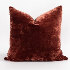 This luxuriously soft, moody red velvet pillow a has cool crushed texture and a generous size that will invite you to sink right in. With a hint of sparkle, thanks to the exposed brass zipper, this gorgeous pillow will bring all the cozy texture you'll be craving for the season ahead. Velvet Pillows, Bed Pillows, Large Sofa, Roman Blinds, Old World Charm, Arya, Floral Motif, Home Decor Items, Pillow Inserts