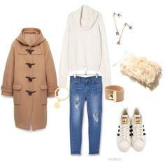 ダッフルコート stylist:kaori ponte fashion outfits coordinate denim sneaker coat white knit duffle coat