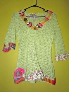 Pale Green Crochet Sweater Upcycled recycled short by monapaints, $129.00
