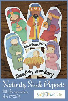 FREE Printable Nativity Stick Puppets
