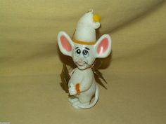 MOUSE ORNAMENT JASCO HONG KONG 1979 FLOCKED PLASTIC ANGEL WINGS HARP WHITE CUTE!