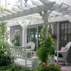 Lovely patio with vines and pergola. Michigan.