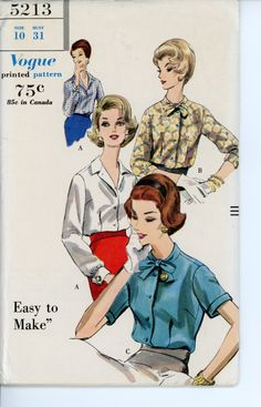 1960s Blouse Vintage Pattern Vogue 5213