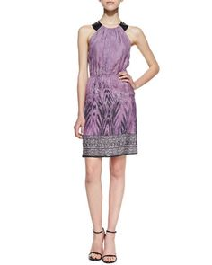 Silk W/Leather Cutout Racerback Dress by 12th Street by Cynthia Vincent at Neiman Marcus.