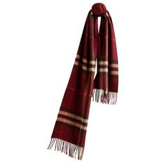 Burberry The Classic Cashmere Scarf in Check ($450) ❤ liked on Polyvore featuring accessories, scarves, cashmere shawl, woven scarves, burberry scarves, burberry and burberry shawl