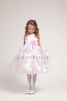 Pink Satin Sleeveless Top with White Organza Ruffled Overlayed Skirt Girl Dress JD1210-PW JD1210-PW $52.95 on www.GirlsDressLine.Com