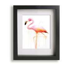 8x10 Pink Flamingo Watercolor Fine Art Print on Etsy, $24.99