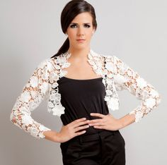 Bridal Italian lace bolero shrug ivory off by girl with serious dream