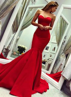 Custom Made Light Mermaid Prom Dresses, Sleeveless Evening Dresses, Prom Dresses Red, Red Mermaid Evening Dresses Red Satin Prom Dress, Prom Dress With Train, The Dress, Dress Red, Dress Long, Sleeved Prom Dress, Mermaid Prom Dresses, Cheap Prom Dresses, Maxi Dresses