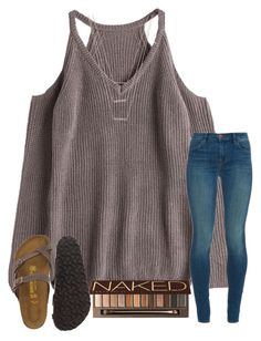 """""""haunted house tonight . exited but scared lol"""" by samanthars ❤ liked on Polyvore featuring J Brand, Birkenstock, Urban Decay and ERTH"""
