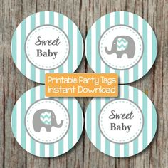Sweet Baby Elephant Baby Shower Party Supplies by BumpAndBeyondDesigns, $4.00