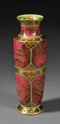 Wedgwood Fairyland Lustre vase in pink and green.