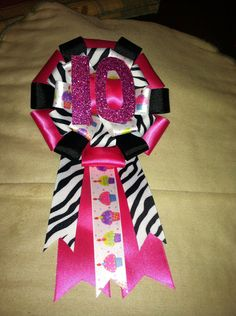 Zebra hot pink and black birthday corsage on Etsy, $6.00