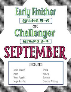 I'm Done, Now What? Early Finisher and Challenge Printable Activities for Grades… Teaching 5th Grade, 4th Grade Classroom, 5th Grade Math, Grade 3, Teaching Tips, Classroom Ideas, Fourth Grade, Sixth Grade, Teaching Science