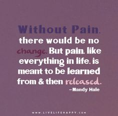 Without pain, there would be no change. But pain, just like everything in life, is meant to be learned from and then released. - Mandy Hale