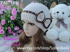 Knitting PATTERN Hat Girl Pattern Knit Womens Hat Knitted  Hats Knit Hat PATTERN  Kids Hat (12-24 m,Toddler, Child, Adult sizes) PDF file