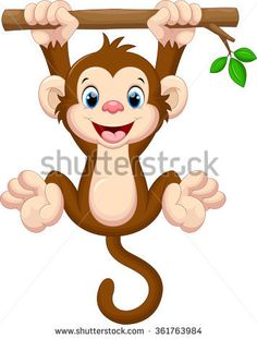 Illustration about Illustration of cute baby monkey hanging on tree. Illustration of innocent, leaf, character - 64982607 Monkey Drawing Cute, Baby Drawing, Cartoon Monkey Drawing, Photos Singe, Cute Baby Monkey, Monkey Pictures, Monkey Tattoos, Baby Art, Fabric Painting