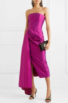Magenta silk-shantung Zip fastening along back silk; lining: viscose, elastane Dry cleanLarge to size. See Size & Fit notes. Satin Gown, Satin Dresses, Nice Dresses, Formal Gowns, Strapless Dress Formal, Alexander Mcqueen Ring, Gown Suit, Next Wedding, Mermaid Dresses