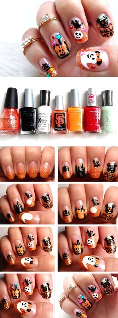Disney Themed | Click Pic for 23 Spooky Nail Art Ideas for Halloween | DIY Halloween Nail Art for Kids