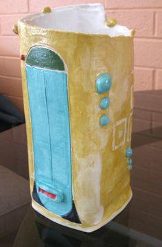 E.Sue McCoy:square vase, 12 inches