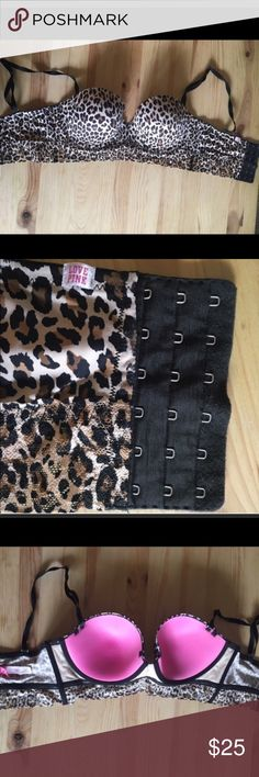 Sexy VS pink leopard bustier Never worn. Basically new. Straps can be removed Victoria's Secret Intimates & Sleepwear Bras