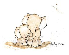 Elephant Print: Baby Mine Nursery Art Print from Original Illustration by Kit Chase. This would be so cute in a baby's room Image Elephant, Elephant Love, Baby Elephant Tattoo, Elephant Family, Baby Elefant, Elephant Nursery Art, Baby Mine, Baby Art, Illustrations