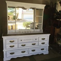 So I paid $20 for this dresser and mirror. It was in decent shape so I figured I would sand and throw some chalk paint on it and resell for a good profit. Paint…