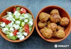 Pikáns, mustáros húsgolyócskák natúr salátával | NOSALTY