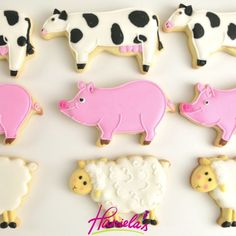 """1,716 Likes, 7 Comments - Haniela's - Hani Bacova (@hanielas) on Instagram: """"Did you grow up with Farm Animals around? Here are cute cow, sheep and pig cookies from the Farm…"""""""