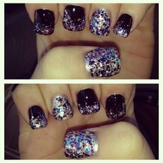 Glitter and black nails
